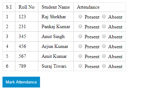 attendance management system form